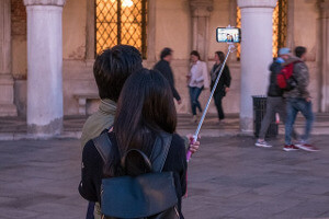 Selfie Stick im Einsatz